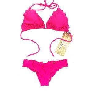 Luli Fama wavy triangle bikini Top + Bottom